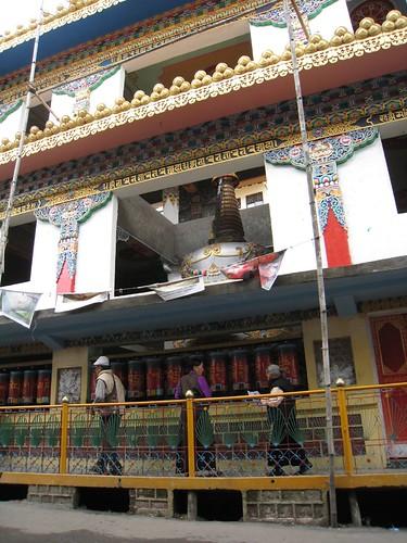Tibetans always turn their prayer wheels in a clockwise direction