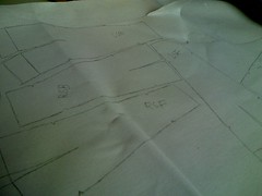 Pattern pieces traced onto interfacing