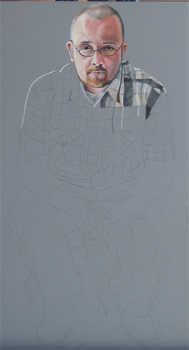 In progress scan of colored pencil portrait entitled Self Portrait V