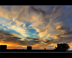Sunset over Walsall (rjt208) Tags: uk greatbritain blue roof sunset chimney england sky orange cloud detail tree tower night clouds canon eos golden evening colours rooftops 21 britain dusk patterns branches details july flats tiles block 2008 soe chimneys mixture walsall detailed 400d mywinners anawesomeshot rjt rjt208