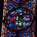 Saint-Chapelle: kaplica górna: fragment witrażu z XIII w. : na prawo od wejscia / ksiega Jeremiasza i Tobiasza