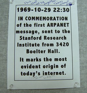 First Internet Message Arpanet UCLA
