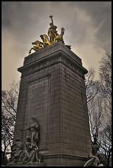 USS Maine Monument (Mike G. K.) Tags: sky horses newyork monument statue clouds dark golden centralpark manhattan maine soe uss hdr photomatix 1exp singlejpghdr