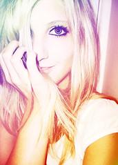 Shandi-lee I {rainbow} (Shandi-lee) Tags: pink blue orange selfportrait color colour green eye smile rainbow eyes colorful hand purple makeup blonde gradient cutegirl fakeeyelashes shandilee