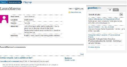 Guardian blog - user profiles
