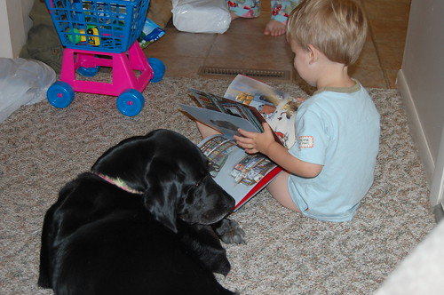 Gus reads to Liv