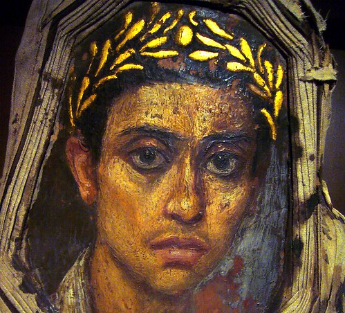 Fayum (or Fayoum) mummy portrait of a youth