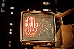 STOP, Times Square @ New York City, USA (°Doudou°) Tags: street nyc newyorkcity trip travel light red urban usa ny newyork building apple yellow night america canon interestingness big dof hand bokeh manhattan stop american timessquare 400d
