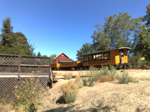 Narrow gauge train leaving to travel up to Bear Mountain
