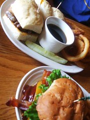 Burger and prime rib sandwich