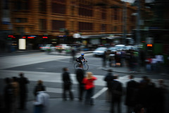 Courier moves (~wibo~) Tags: people bike melbourne victoria motionblur intersection courier flindersstreet swanstonstreet