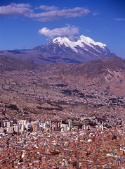 LaPaz and Illimani (photo61guy) Tags: mountains landscape bolivia lapaz illimani fujivelvia100 nikonflickraward imagesforthelittelprince