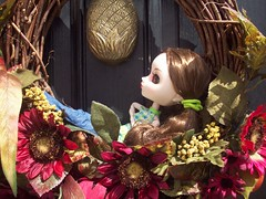 Relaxing in the wreath (Harmony909) Tags: yard garden doll wreath pullip reika