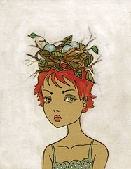 Head Nester (courtneyoquist) Tags: art girl painting nest egg