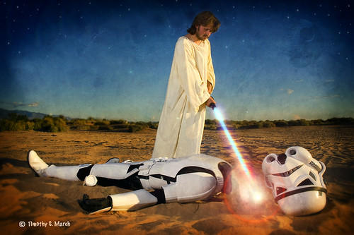 Christ with lightsaber
