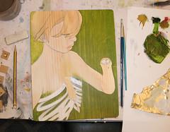 If it Wasn't Sewn On (Cat Rocketship) Tags: woman green art girl arm ribs oil bone oilpaintings amputee