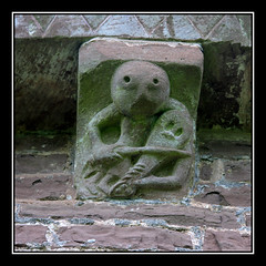 Kilpeck Church corbel (mclarenjk) Tags: church statue wales churches carving medieval norman herefordshire hereford mediaeval marches sheelanagig kilpeck kilpeckchurch