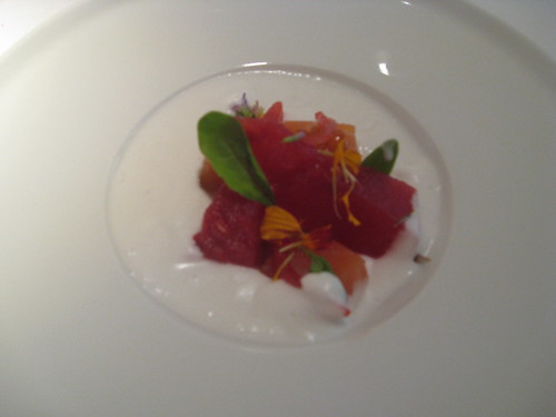 Barcelona, Alkimia: Smoked slmon, Watermelon, Blanched Almonds with Ajo Blanco