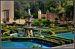 Italian Garden 3 - Fountain HDR (JayVeeAre (JvR)) Tags: flowers newzealand reflection nature water fountain spring waikato aotearoa hdr hamiltongardens formalgarden themegarden italiangarden