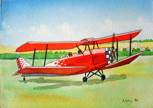 Old plane watercolor
