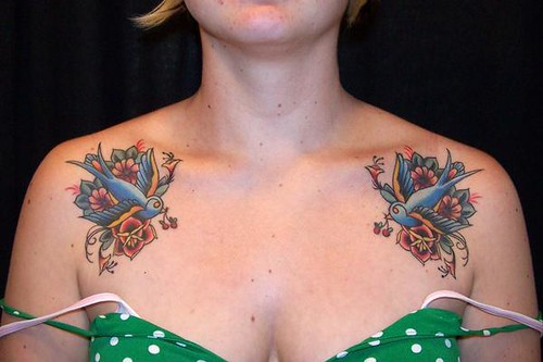 tattoos of birds for girls. blue irds tattoo
