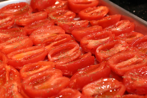 Thyme and Oil on tomatoes