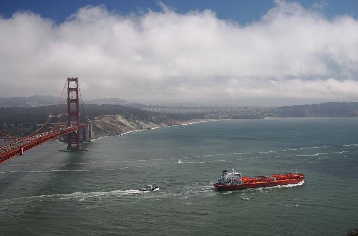 Ship leaving San Francisco Bay under the Golden Gate Brige