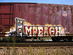 09-22-08 (5) cc (This Guy...) Tags: train graffiti state pacific union abraham heads lincoln traincar spraypaint boxcar alb graff abe aerosol 2008 freight rolling amfm brigade impeach guillotine explored