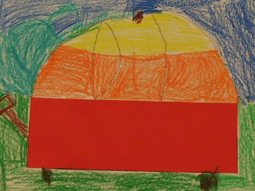 Garrett's pumpkin in a wagon