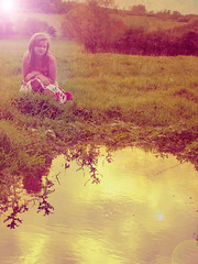 tori (-Emillie-) Tags: sun colour reflection water field vintage countryside dress ferris tori odonnell largepond emillie smalllake