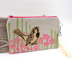 Wristlet - Chickadee (1Girl 1Boy) Tags: bird bag linen chickadee pouch etsy applique pinkflowers wristlet blockprinted handprintedtextile