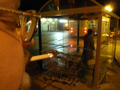 Dennis (dougblackport) Tags: red bus relax busdriver smoke busstop vision burn busshelter transit incendiary dennis eyeglasses smokes waitingforthebus transitterminal smokestop thickeyeglasses transitoperator correctedvisiton centreatcircle8th