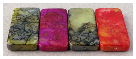 Domino tiles dyed with alcohol inks