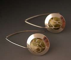 """Saturn"" earrings (metalartiste) Tags: white olive polymerclay earrings naftali sterlingsilver domed dangles"