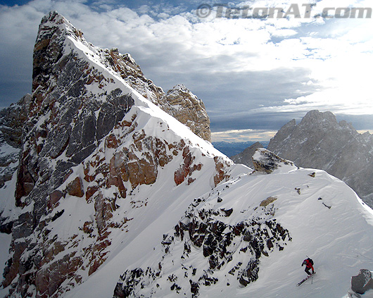 Reed skis into Dike Couloir