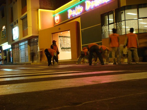 """Zebra stripe"" workers at night shift. Piura, Peru."
