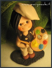 Cake Topper - Little Artist (marytempesta) Tags: clay polymer