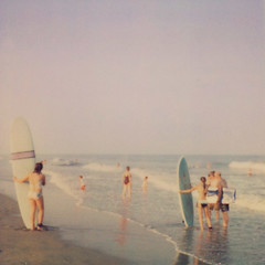 Let's go surfing now (IrenaS) Tags: ocean sea summer beach polaroid pastel maryland surfers assateague