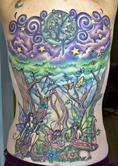 DONE! (Kerrie Lynn Photography (Sugaree_GD)) Tags: trees moon tattoo forest stars back purple butterflies fairy faery swirls fairies faeries backpiece fae amybrown tattooed heavily staceysharp sugareegd keirwells