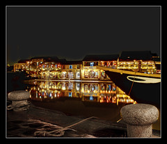river, boat and the reflecting lanterns (revisited) (PNike (Prashanth Naik)) Tags: sky reflection water colors river lights boat nikon asia ship chinese vietnam hoian anchor lanterns reflectinginwater pnike