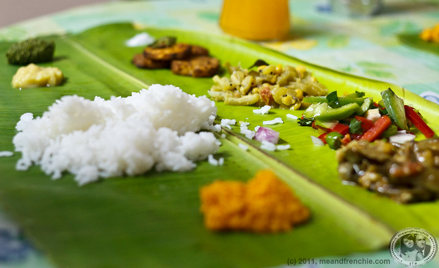 A Tamil Vegetarian Lunch Served On A Banana Leaf