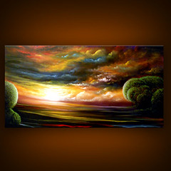 Watchtowers (MatthewHamblen) Tags: original sunset cloud abstract tree art home wall painting landscape gold acrylic glow metallic dream surreal fantasy lollipop decor whimsical dreamscape