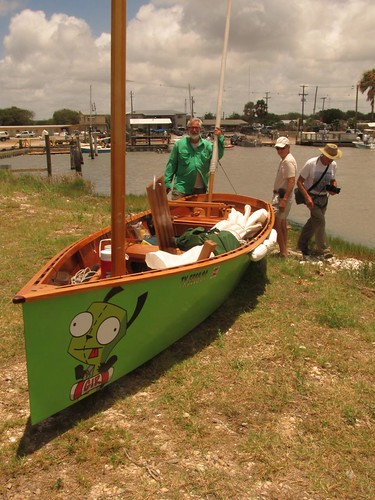 Goat Island skiff at the end of the Texas 200 sailing event.