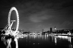 London Eye B&W (Max Crowe) Tags: bridge blackandwhite london monochrome night reflections river londoneye bigben riverthames strongcontrast centrallondon goldenvisions