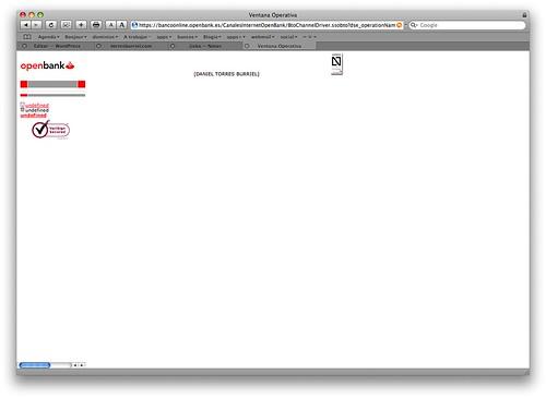 Captura de pantalla del Área de clientes de Open Bank tomada con Safari/MacOsX