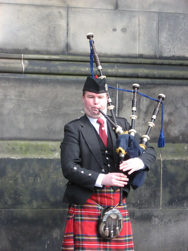Bagpiper along the Royal Mile, Edinburgh.