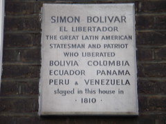 Photo of Simón Bolívar white plaque
