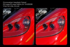 Vette headlight (sirchuckles) Tags: red restaurant 3d omega headlight corvette cruisenight sereo paallel