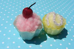 Two Miniature pom pom Cupcakes (skybluecrayons) Tags: pink red yellow cherry miniature purple yarn cupcake bead pompom playfood fauxfood cupcakeliner cssteam piecefulbits