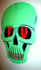 F U by Chris Kerr (fotoflow / Oscar Arriola) Tags: show wood chris sculpture chicago art its painting print skulls skull inn gallery drawing paintings drawings exhibition f believe hour u installation prints shows 24 hr ok kerr sighn itsok chicagoart chriskerr cutathon believeinn